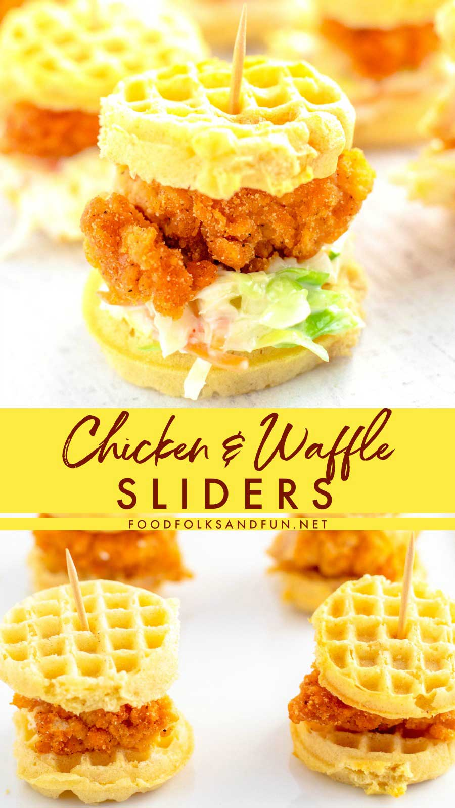These Chicken and Waffle Sliders are the easiest game day, Super Bowl, or party food recipe that you will make! They're quick & easy to make and they're always a crowd pleaser. via @foodfolksandfun