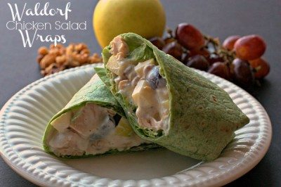 A Waldorf Chicken Salad Wrap with text overlay for Pinterest