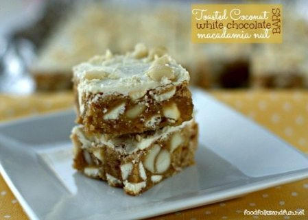 Toasted Coconut White Chocolate Macadamia Nut Bars