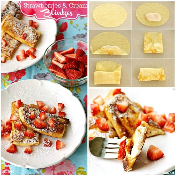 A collage of Strawberry and Philly Cream Cheese Blintzes with text overlay for social media