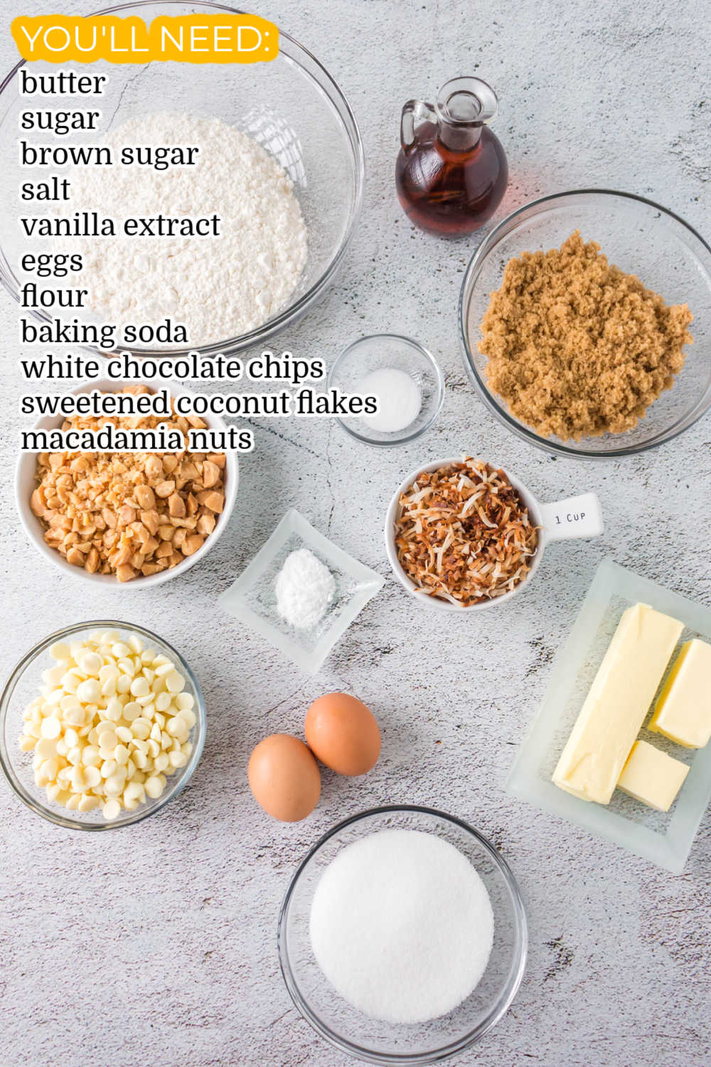 All of the ingredients needed to make this White Chocolate Blondie recipe.
