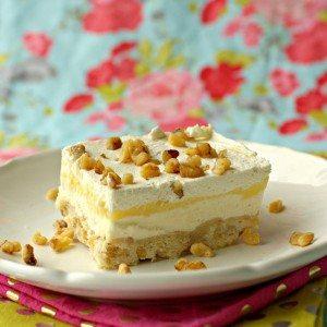 A slice of Lemon Lush Dessert