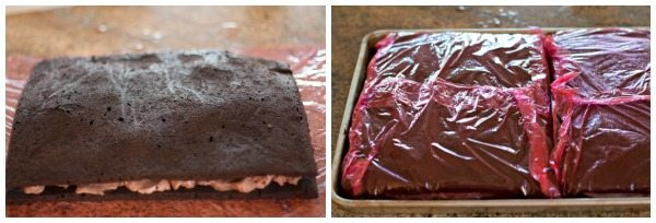 Wrap the big slabs of sandwiches in plastic wrap.