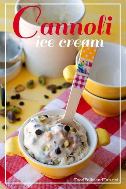 Cannoli Ice cream with dark chocolate and pistachios