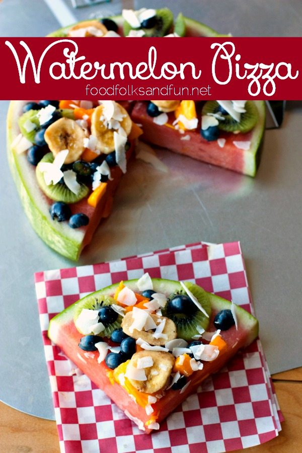 A slice of Watermelon Pizza with text overlay for Pinterest