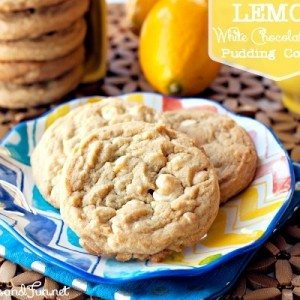 A plate of Lemon White Chocolate Pudding Cookies with text overlay for Pinterest