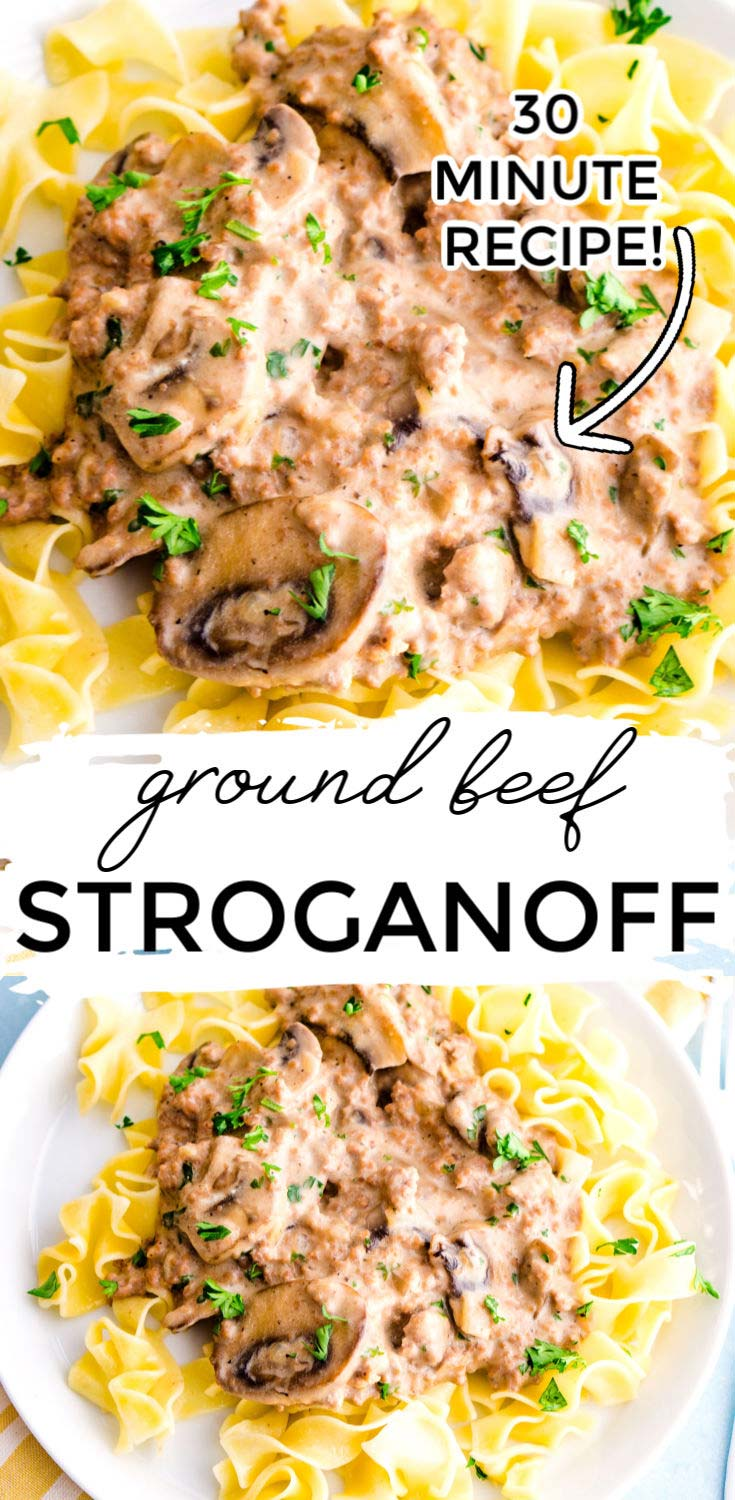 This Ground Beef Stroganoff recipe is some serious comfort food and ready in just 30 minutes. It serves 6 and costs $15.16 to make. That's just $2.53 per serving!  via @foodfolksandfun