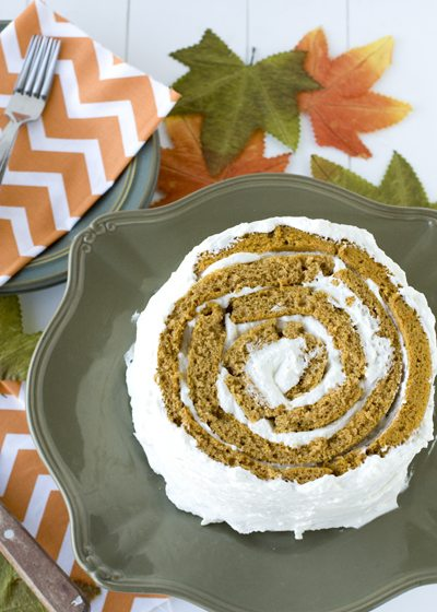 A roll-up Pumpkin Cake on a plate