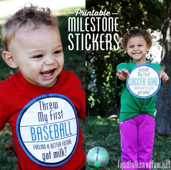 Printable Milestone Stickers #fuelbetterfuture #gotmilk