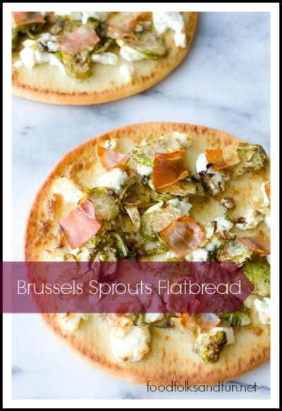 Brussels Sprouts Flatbread with Prosciutto & Goat Cheese