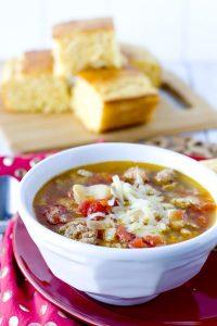 A bowl of Sausage Butter Bean Soup
