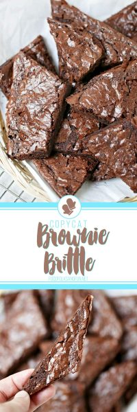 Long image of homemade brownie brittle recipe.