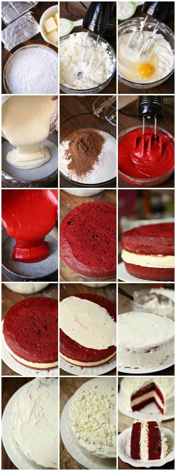 Step by step pictures showing how to make red velvet cheesecake cake.