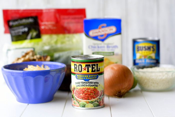 Recipe ingredients for chicken burrito bowls.