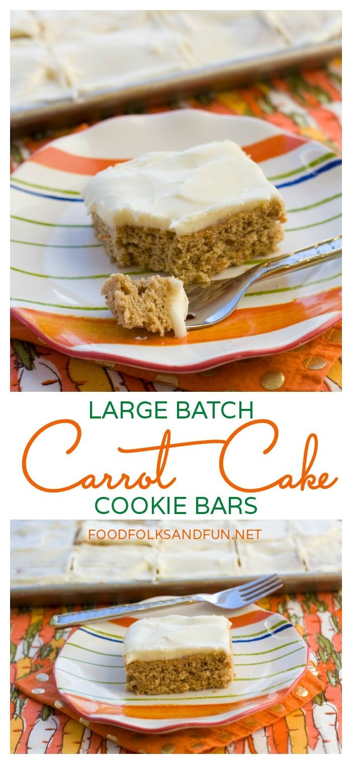 Carrot Cake Cookie Bars are perfect for Easter, Spring celebrations, and bake sales! This recipe makes a ton, which makes it perfect for sharing! via @foodfolksandfun