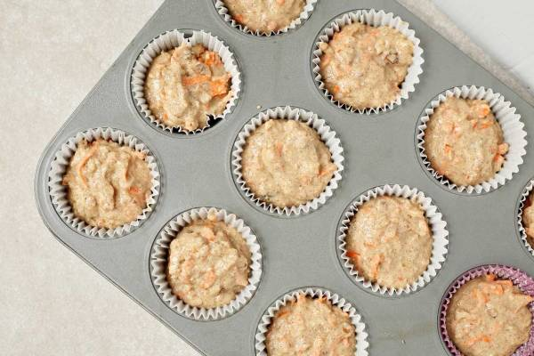 Making Healthy Carrot Cake Muffins