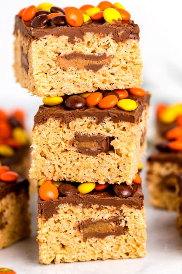 2 Reese's Rice Krispies Treats stacked on top of each other.