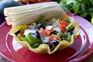 Tamale Taco Salad on a plate