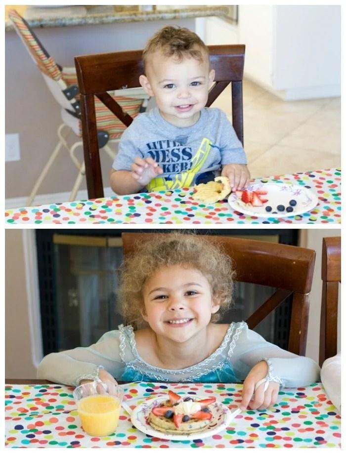 My kids enjoying their waffle creations.
