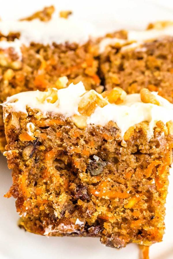 Easy Carrot Loaf Cake ready to be eaten!