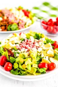 This Cobb Salad recipe is the perfect entree salad recipe. It's also a great way to use up leftover Easter ham and hard boiled eggs.