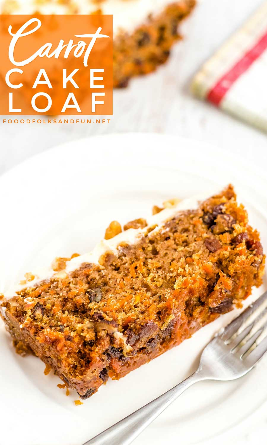 Carrot Cake made in a loaf pan.
