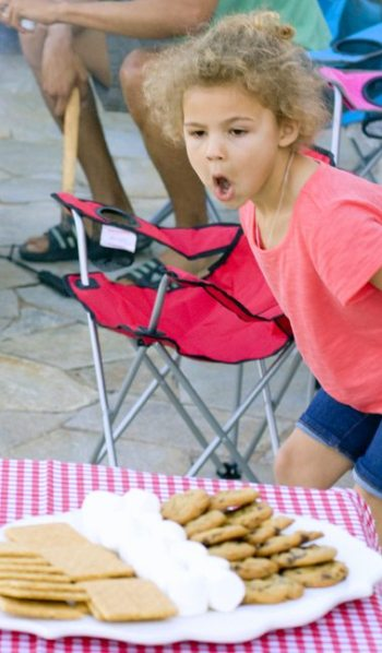 I love Mia's reaction when I brought out the smores tray.