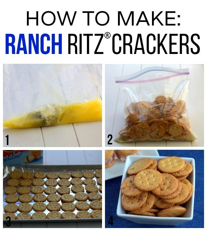 Picture collage of how to make ranch ritz crackers