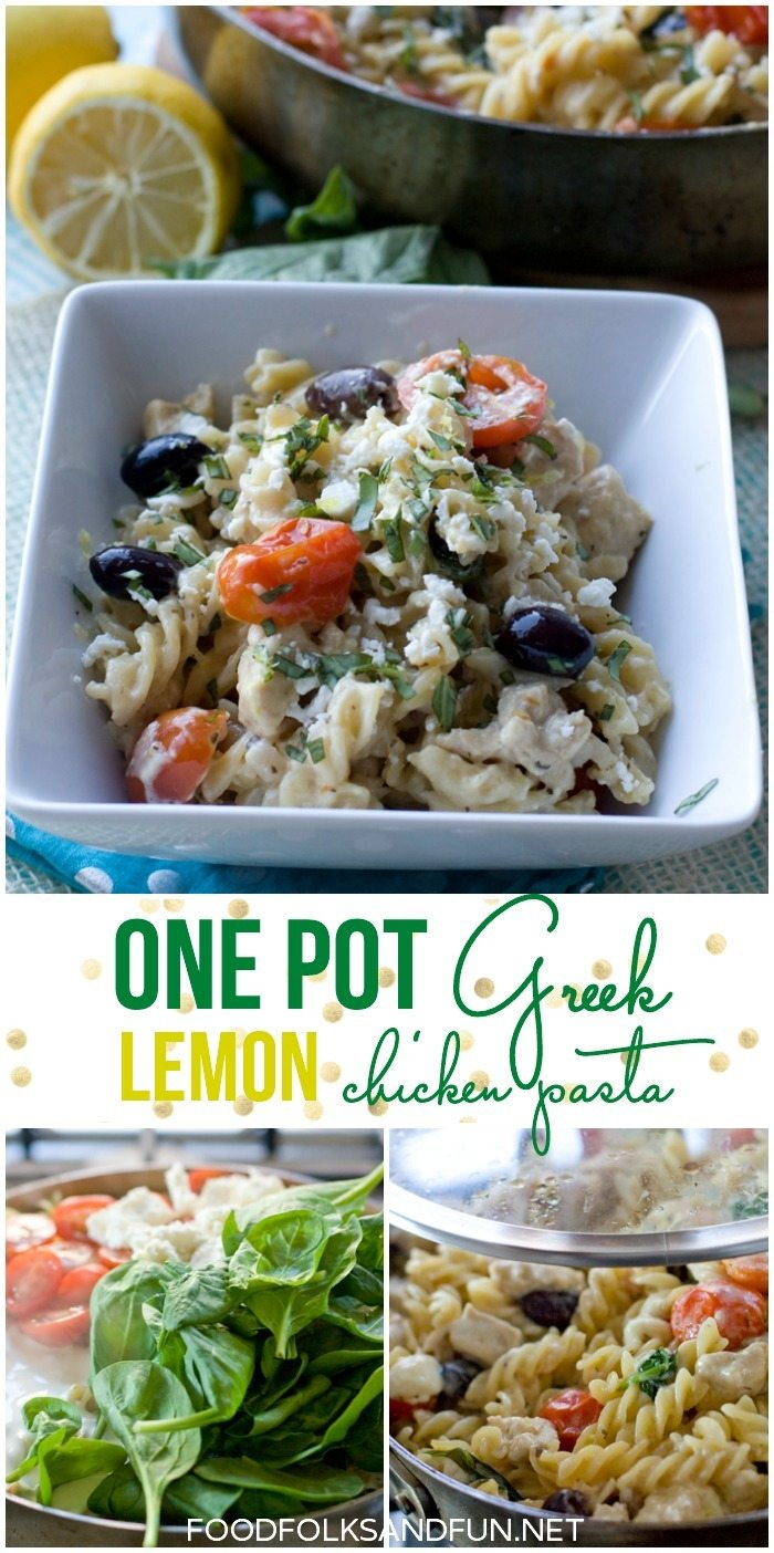 One Pot Greek Lemon Chicken Pasta recipe