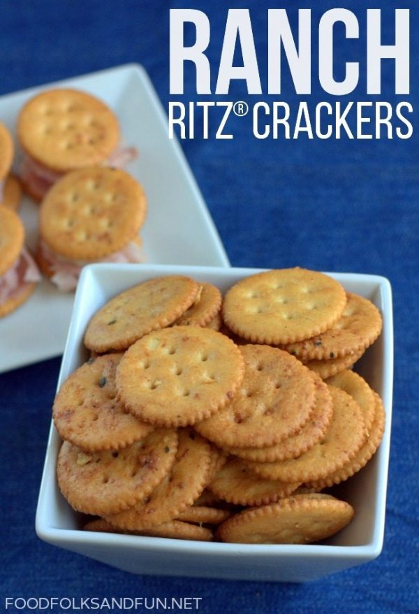 Ranch RITZ Crackers piled into a white bowl.