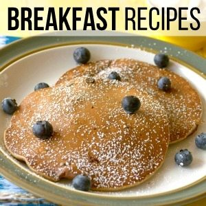 Pancakes with blueberries with text overlay for social media