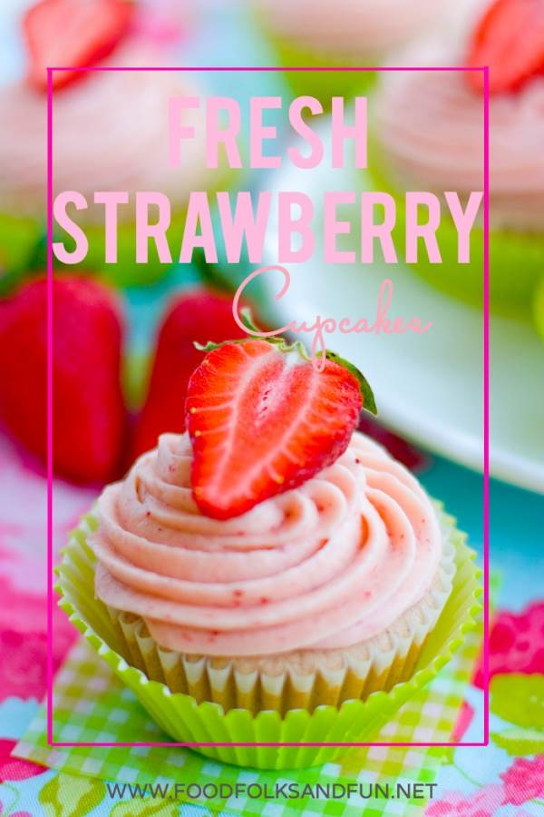 Fresh Strawberry Cupcake with a sliced strawberry on top.
