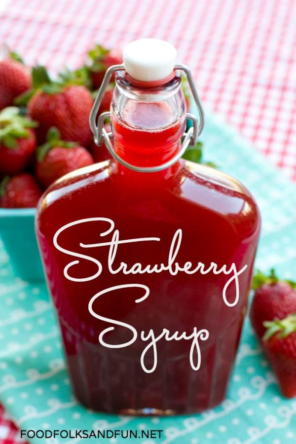 Strawberry pancake syrup in a syrup jar.
