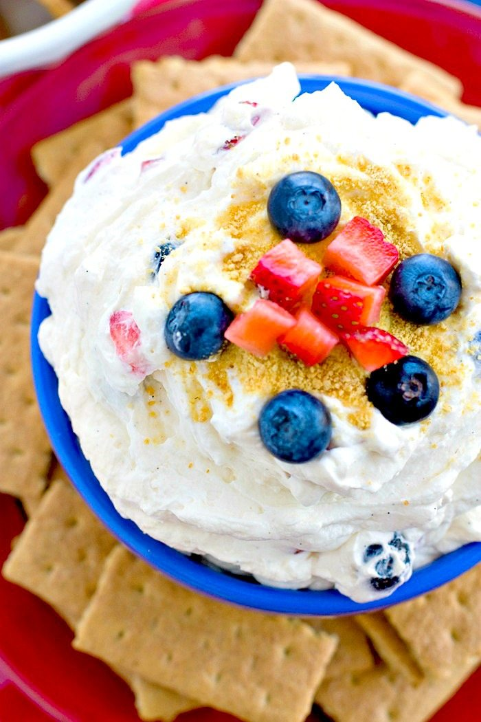 Overhead picture of the cheesecake dip that's garnished with fresh berries.
