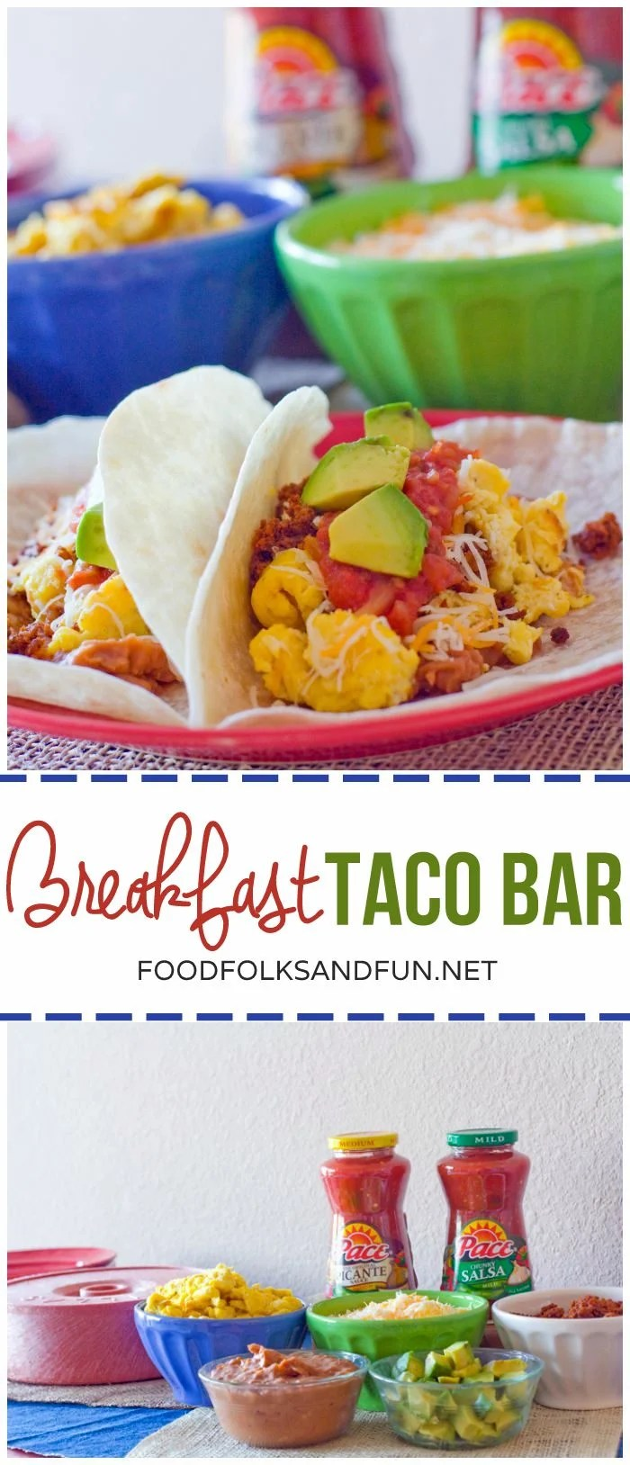 This Breakfast Taco Bar is my secret weapon for out of town guests. It's easy to prepare and throw together and everyone always loves it! via @foodfolksandfun