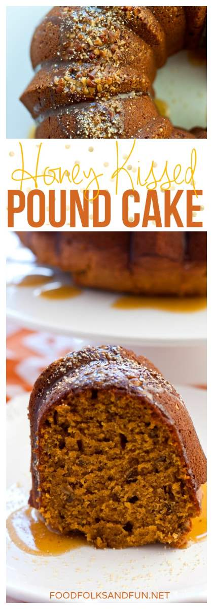 A picture collage of a pumpkin cake with honey.