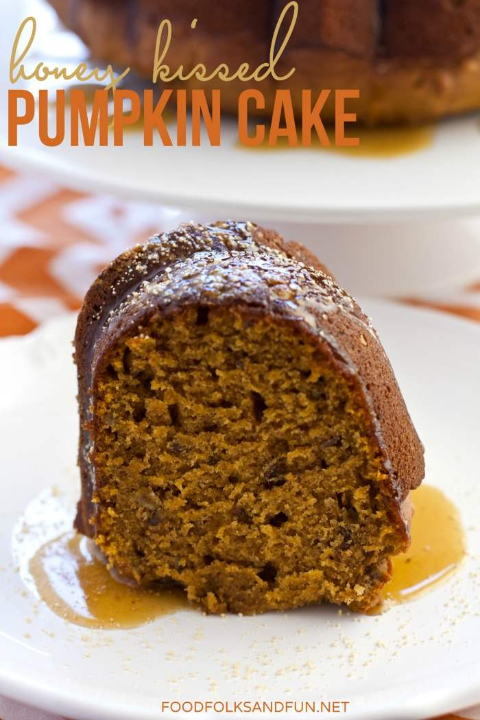 A piece of pumpkin honey cake on a plate.