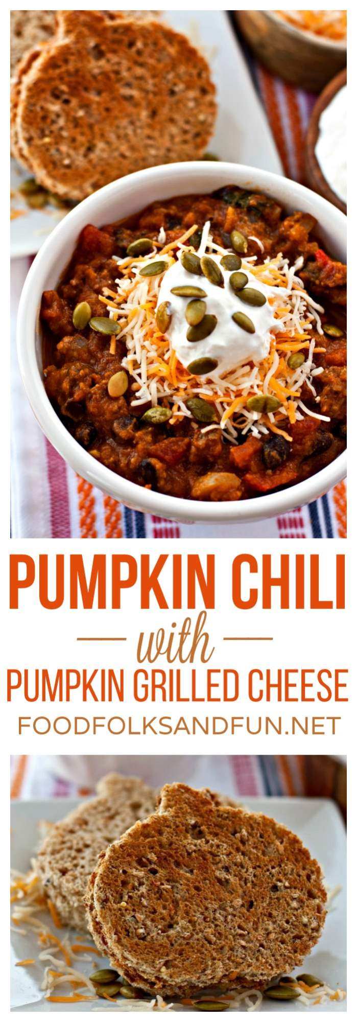 A collage of pumpkin chili and pumpkin grilled cheese with text overlay for Pinterest