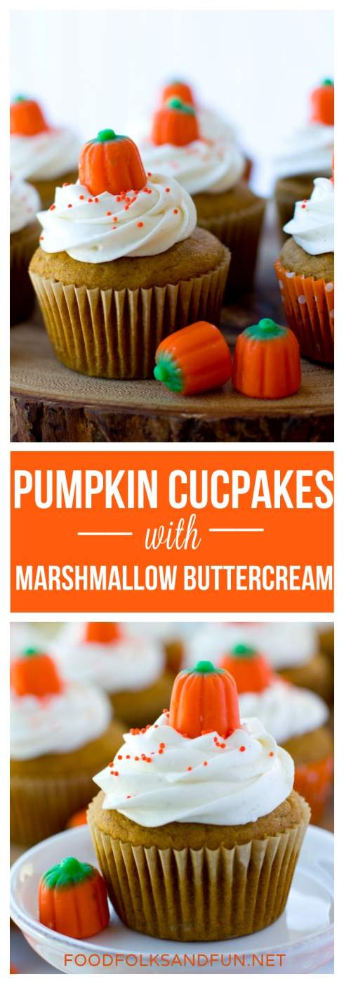 These pumpkin cupcakes are spiced, not too sweet, and topped with marshmallow buttercream. You can make them into muffins by leaving off the buttercream!