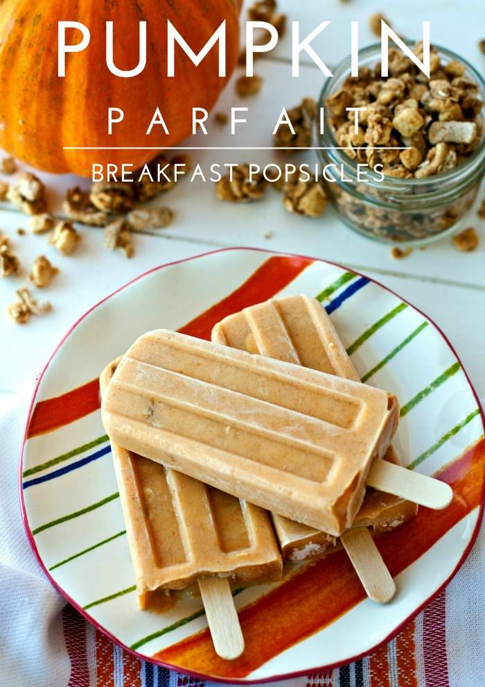 These Pumpkin Parfait Breakfast Popsicles are a great way to start your day as an easy, on-the-go breakfast! Plus they taste just like pumpkin pie!