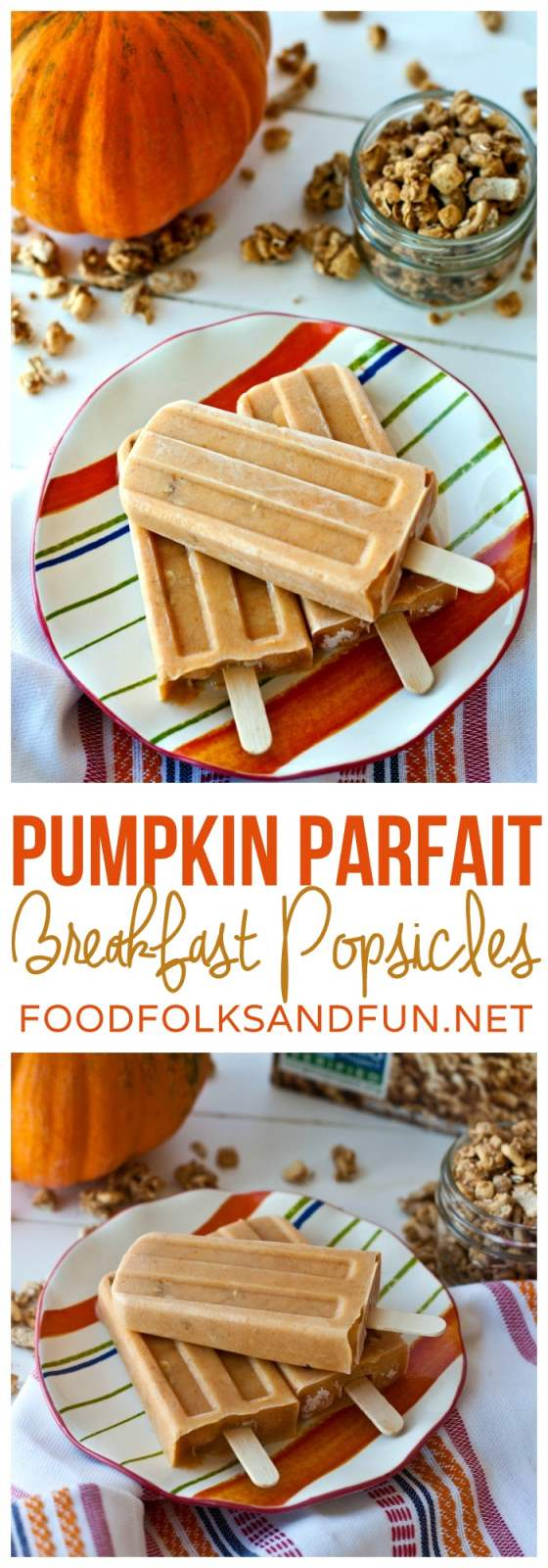 Collage of Pumpkin Parfait Breakfast Popsicles with text overlay for Pinterest