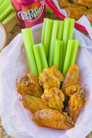 These Dr Pepper Hot Wings are sweet, spicy and so delicious! They're an easy game day recipe that are roasted and not fried!