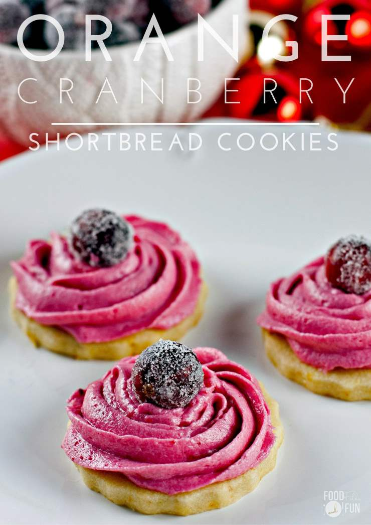 These Orange Cranberry Shortbread Cookies are so festive and perfect for parties, gifting or Christmas cookie exchanges. via @foodfolksandfun