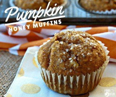 Close up picture of a pumpkin muffin.