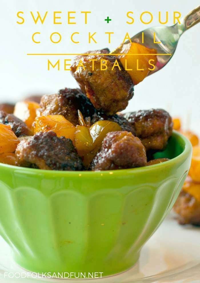Sweet and sour meatballs in a bowl with text overlay for social media