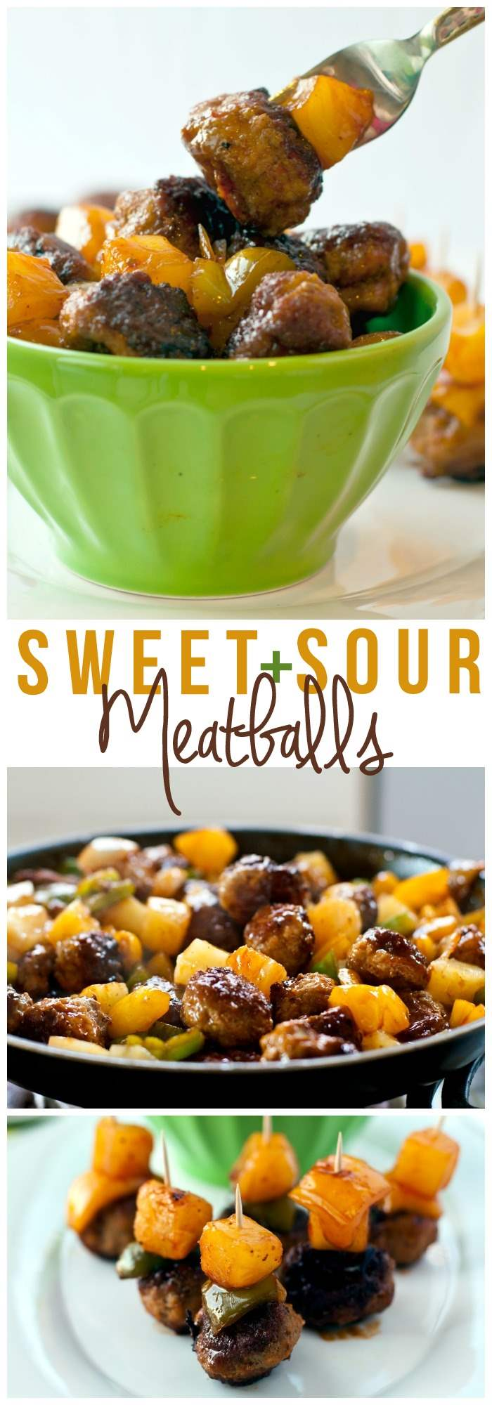 A collage of sweet and sour cocktail meatballs with text overlay for social media