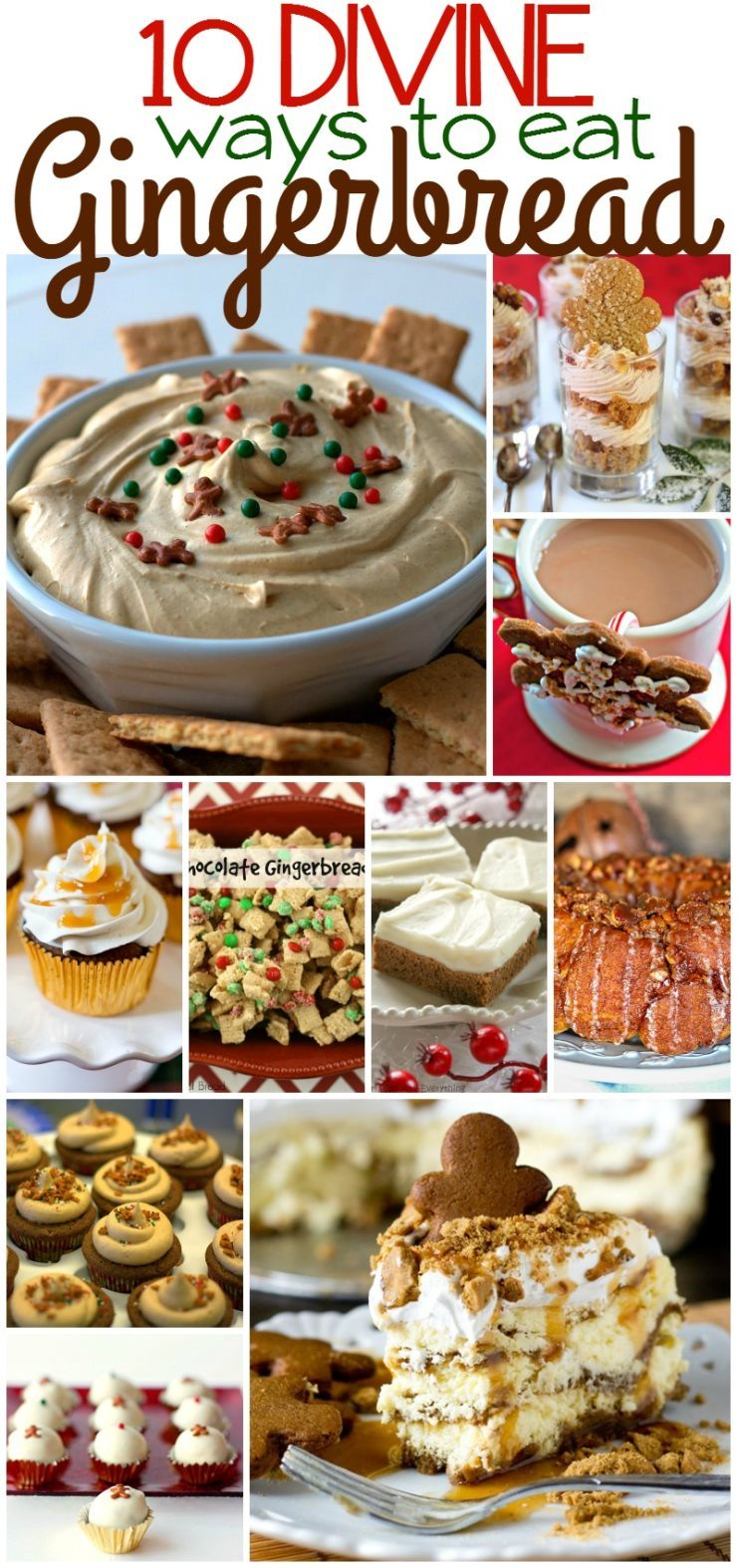 A collage of gingerbread recipes with text overlay for Pinterest via @foodfolksandfun