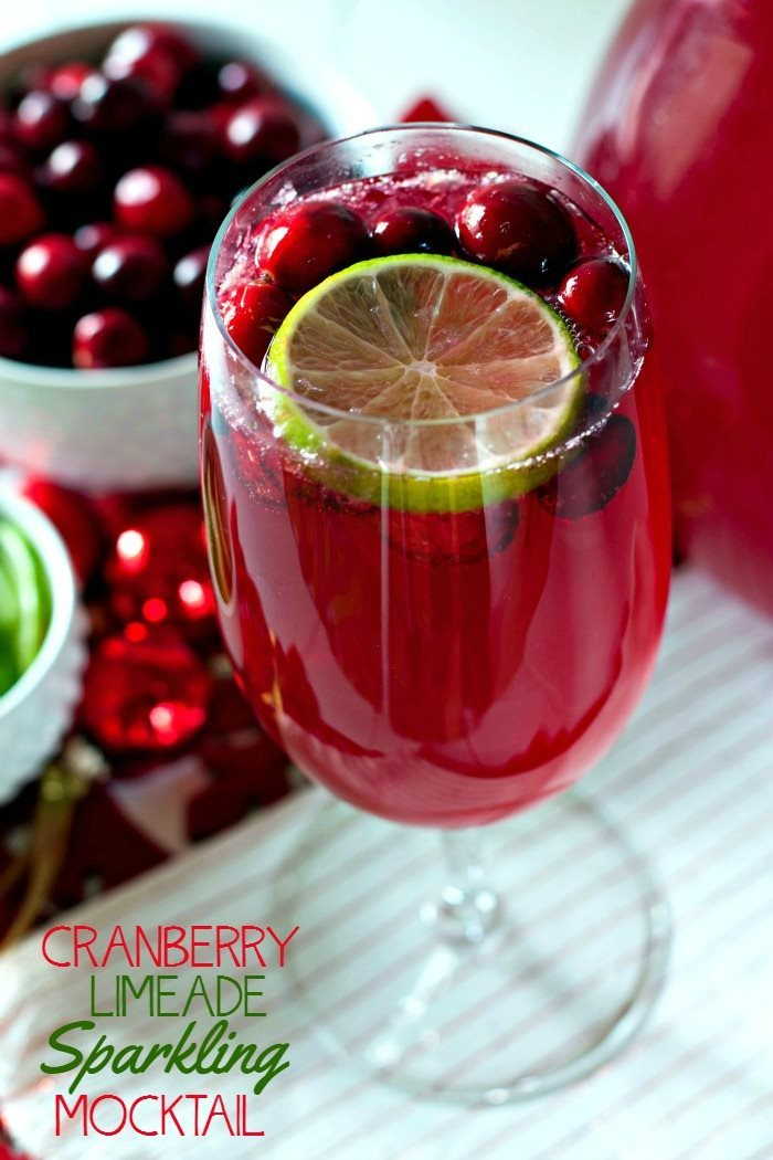 Make this Cranberry Limeade Sparkling Mocktail recipe for your next holiday party. It's the perfect festive mocktail for winter celebrations! via @foodfolksandfun
