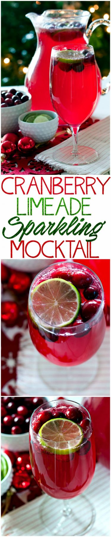 Picture collage of cranberry mocktail for Pinterest.
