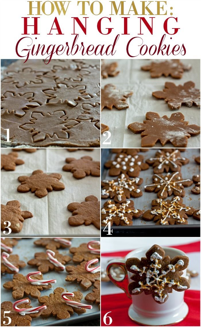Picture collage of How to Make Hanging Gingerbread Cookies Gift with text overlay for Pinterest.